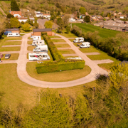 Aerial photo of the Rodney Stoke Caravan and Camping park in Cheddar